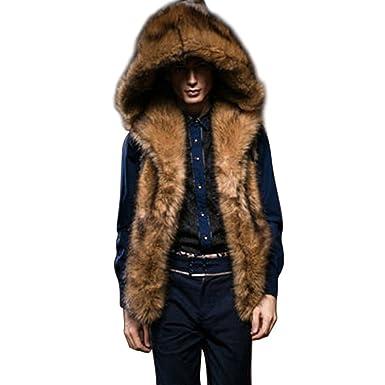 4ea87bb6c057 FUNOC Men Sleeveless Faux Fur Gilet Winter Warm Vest Outerwear Body ...