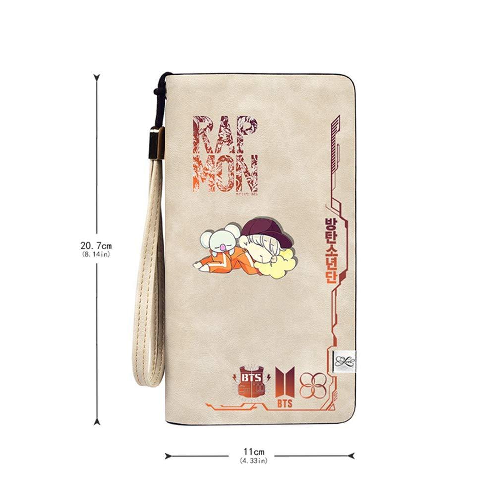 Saicowordist KPOP BTS Caricature Lange//courte Portefeuille en cuir PU pour fille J-hope