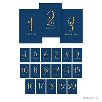 amazon com andaz press table numbers 1 20 gold glitter print 4x6