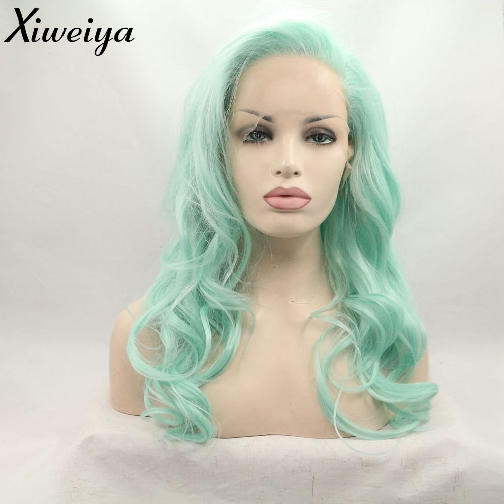2b119218bdb428 Amazon.com : Fashion green ombre synthetic wigs body wave lace front wig  drag queen wig heat resistant fiber wig in stock front lace wig : Beauty