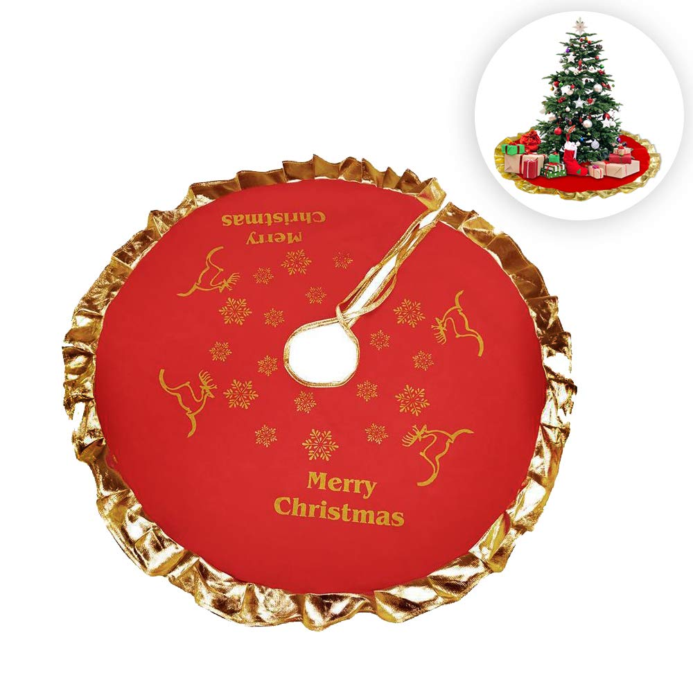 Luxury Red And Gold Christmas Tree Skirt With Merry Christmas And Snowflake Design Xmas Tree Skirt For Christmas Holiday Tree Decoration Xmas