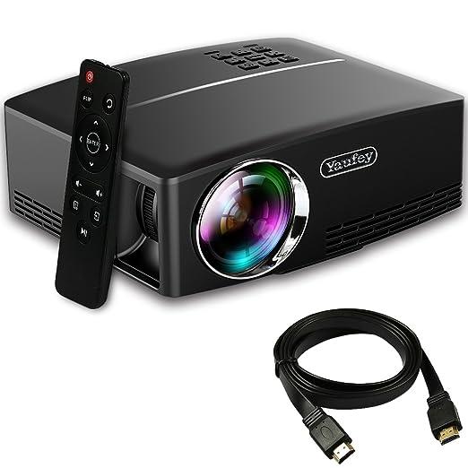56 opinioni per Proiettore Portatile, Yaufey 1800 Lumens LCD Mini Proiettore con Cavo HDMI