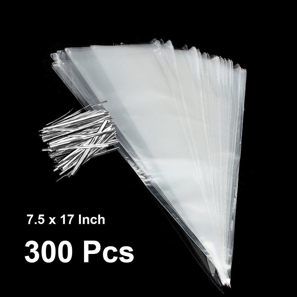 The Elixir Party 200 Pcs Cellophane Clear Cone Shaped Bags Cello Bags Sweet Cookit Bags Treat Bags Candy Wraps, 7.5 x 17 inch 4336872323