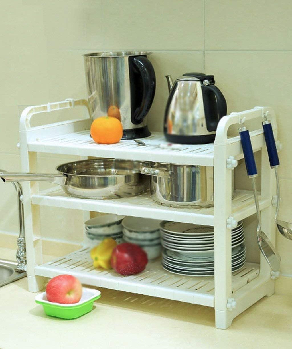 収納棚電子レンジ棚キッチン用品ヘラ収納ラック多機能炊飯器棚キッチン用品グッドライフヘルパーキッチンギフト(色:#3)