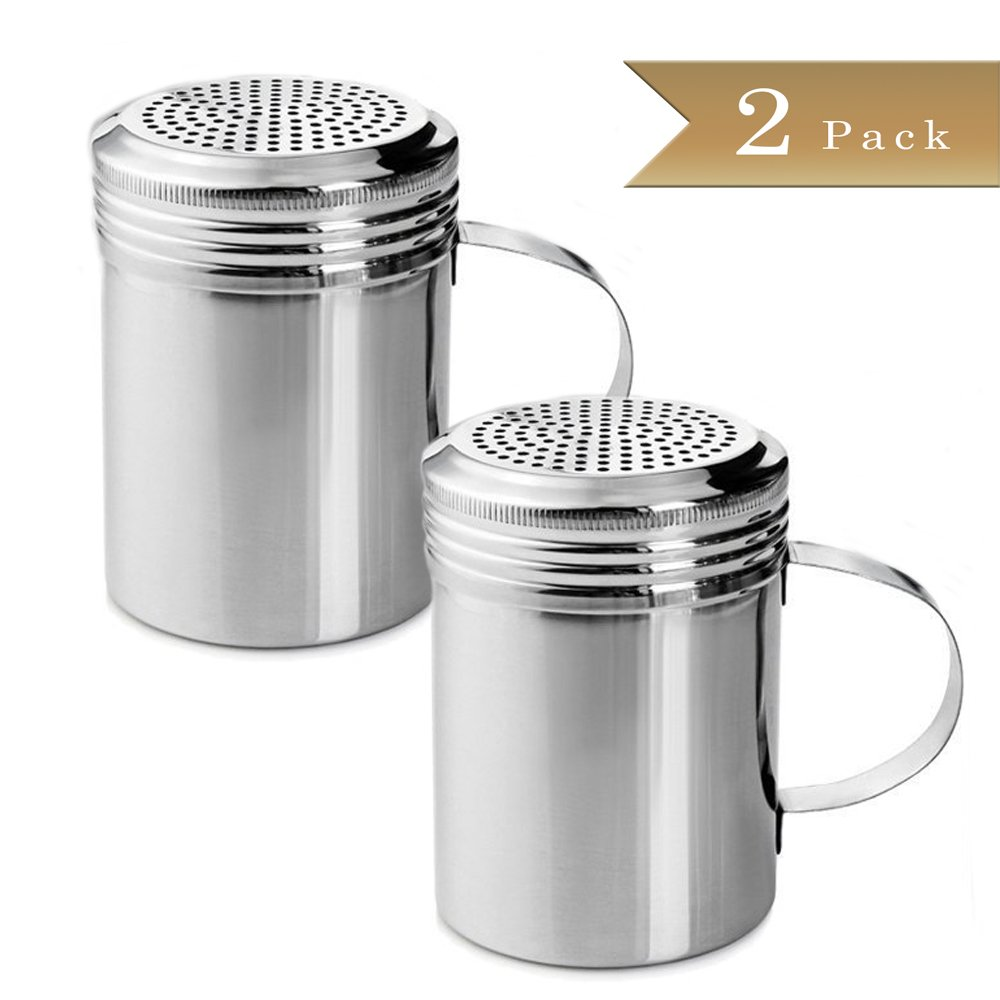 TrueCraftware - 10 Oz. Stainless Steel Versatile Dredge Shaker, Salt and Pepper Shaker Set (Set of 2)