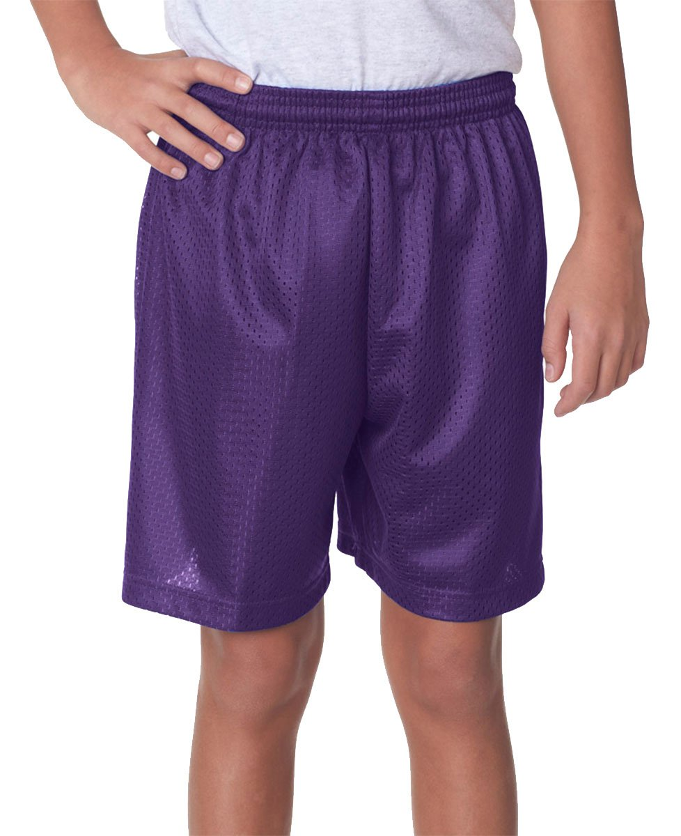 A4 NB5301-PUR Lined Tricot Mesh Shorts, Small, Purple
