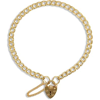 030150df6bdad Jewelco London Ladies Solid 9ct Yellow Gold Love Heart Padlock Double Curb  Link 4mm Gauge Charm Bracelet