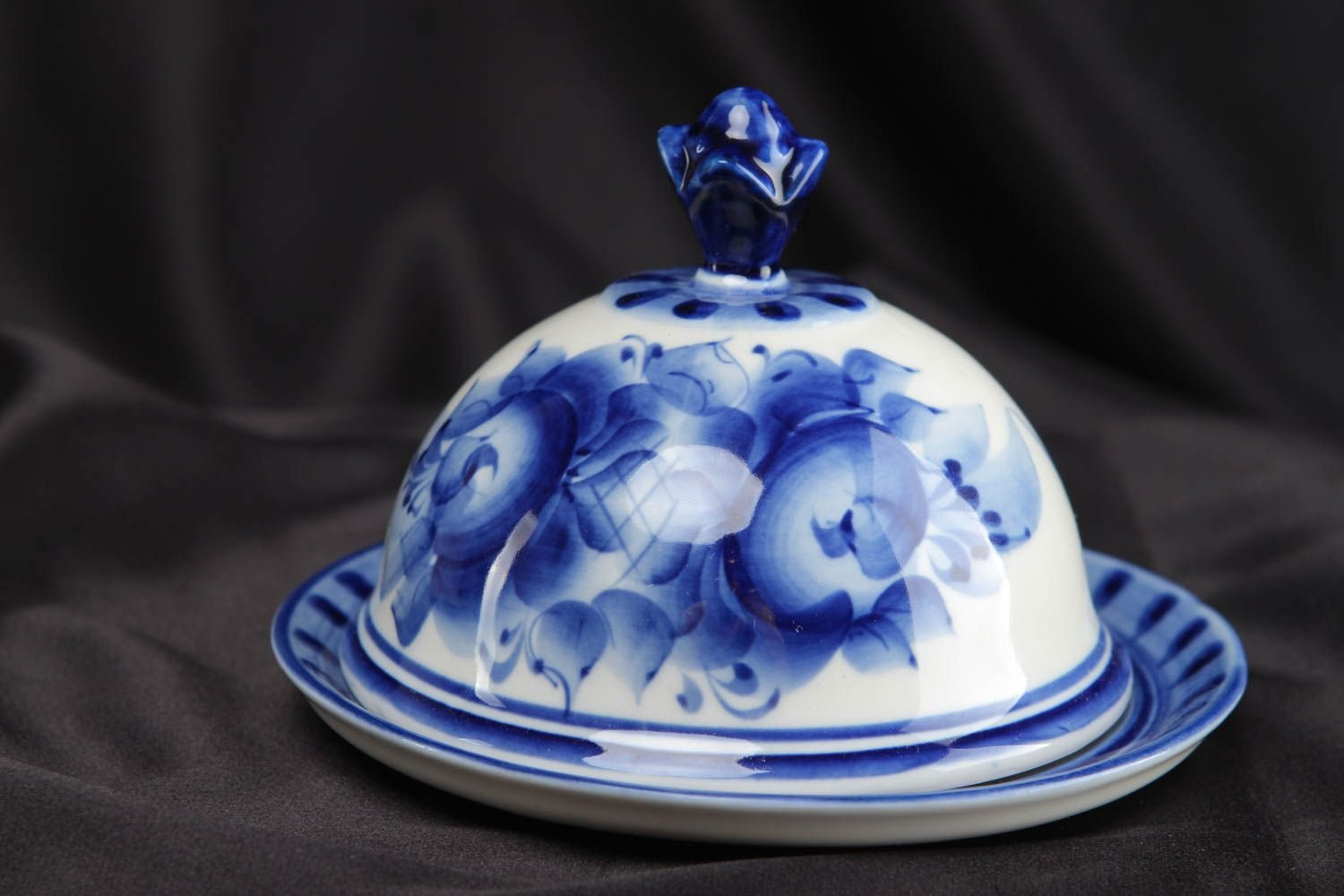 磁器Butter Dish with Gzhel Painting   B00XJL5SAE
