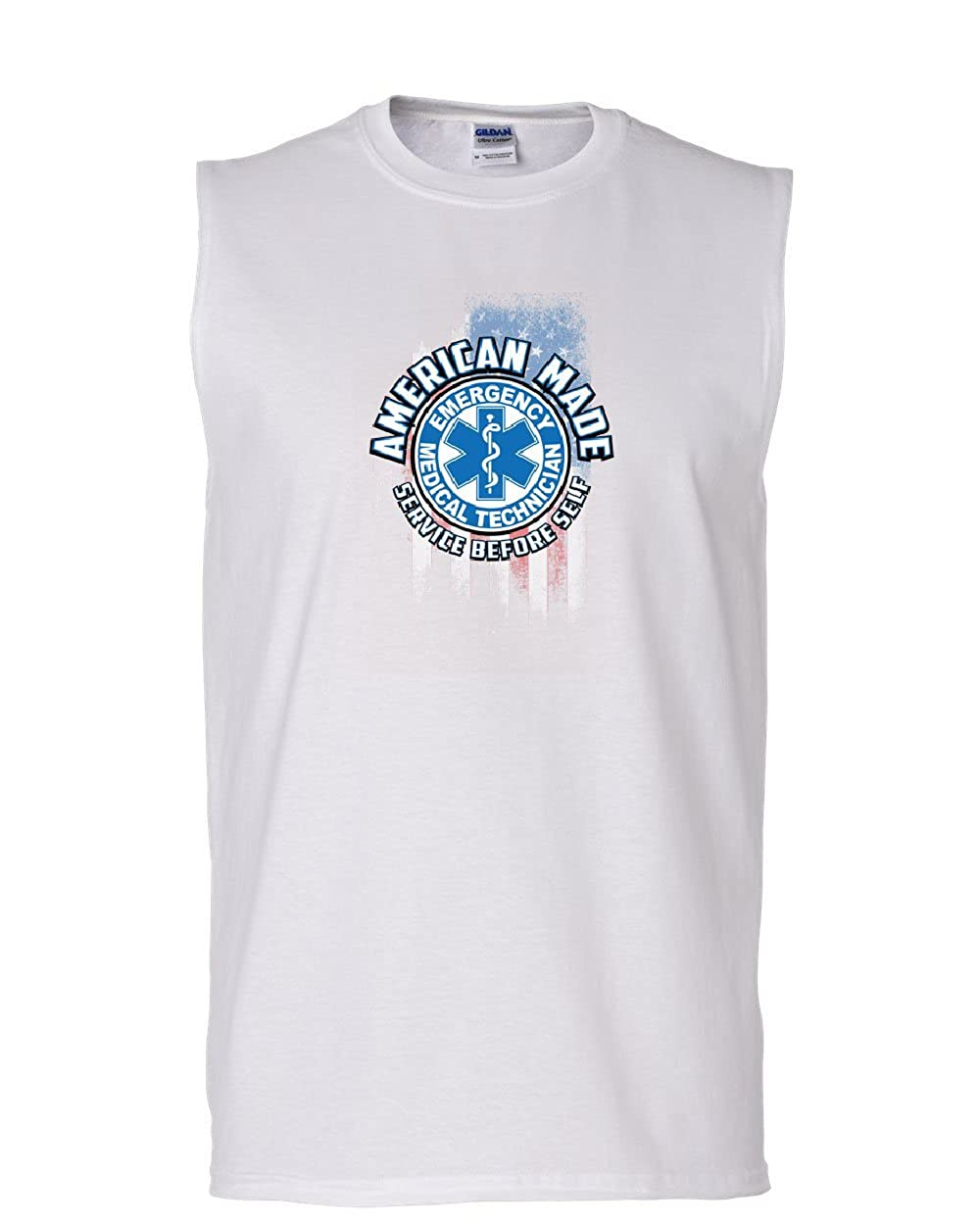 Tee Hunt EMT Service Before Self Muscle Shirt American Made First Responders Sleeveless