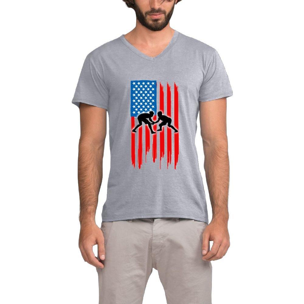 Mokjeiij American Flag Wrestling Men's Vital Performance Fitness V-Neck Tee Shirt