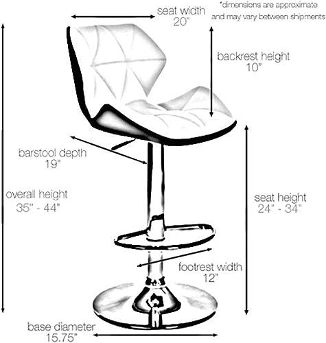 Set of 2 Spyder Contemporary Adjustable Barstool