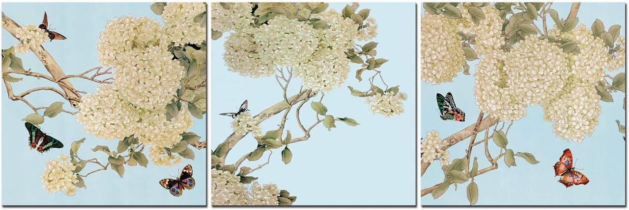 CUFUN Art - Flores y Mariposas Blancas. Cuadros giclee Modernos en Lienzo Arte de Pared Enmarcado en Madera (30x30cmx3pcs)