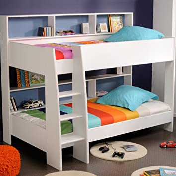 Happy Beds Tam Tam White Wooden Kids Bunk Bed With Storage Shelves
