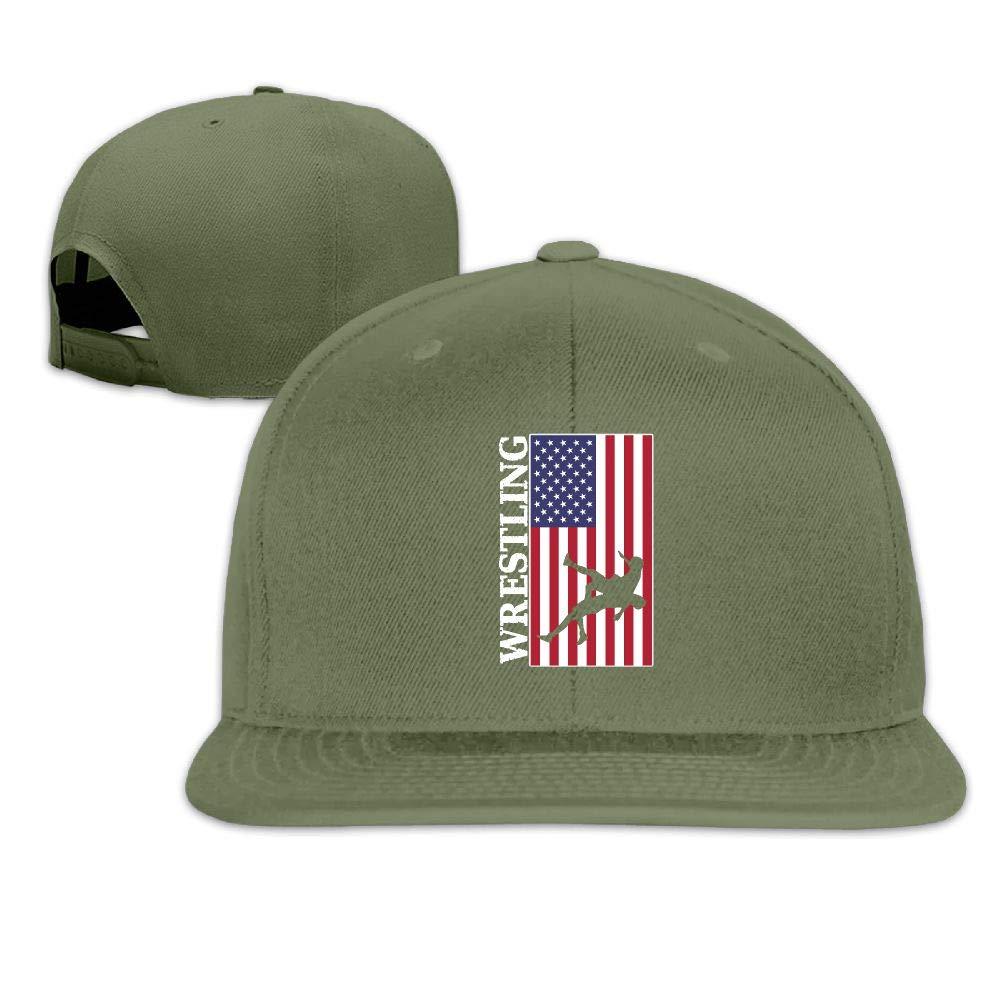 MAGIICAP Unisex Trucker Hat, Vintage USA Flag Wrestling Adjustable Hip-Hop Flatbrim Baseball Hat by MAGIICAP