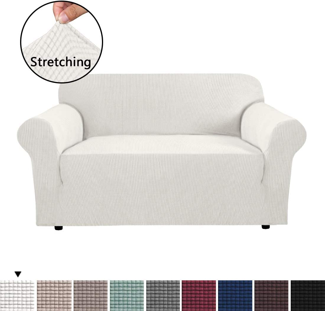 H.VERSAILTEX 1 Piece Stretch Stylish Furniture Sofa Cover for Loveseat Featuring Jacquqard Textured Twill Fabric, High Spandex Couch Cover Machine Washable/Non Skid Slipcover (2 Seater, Ivory White)