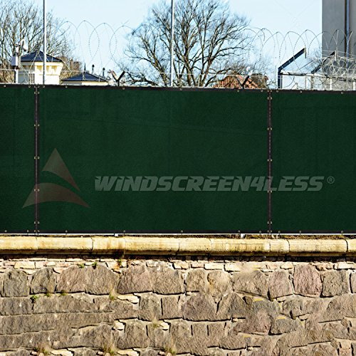 Windscreen4less Heavy Duty Privacy Screen Fence in Color Solid Green 4' x 50' Brass Grommets w/3-Year Warranty 150 GSM (Customized Sizes Available) by Windscreen4less (Image #6)
