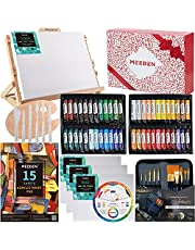MEEDEN 72-Piece Acrylic Painting Set, Adjustable Beech Wood Table Top Easel and Vivid Acrylic Paints in 48 Colors and All The Art Painting Supplies Perfect for Beginners, Art Students, and Teens