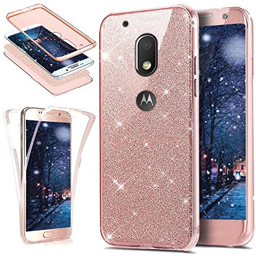 ikasus Motorola Moto G4 Play Case, [Full-Body 360 Coverage] Crystal Clear 2in1 Sparkly Shiny Bling Glitter Front Back Full Coverage Soft TPU Silicone Rubber Case for Motorola Moto G4 Play,Rose Gold