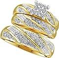 Wedding Ring Sets 0.30CTW DIAMOND CLUSTER TRIO SET 10KT Yellow Gold