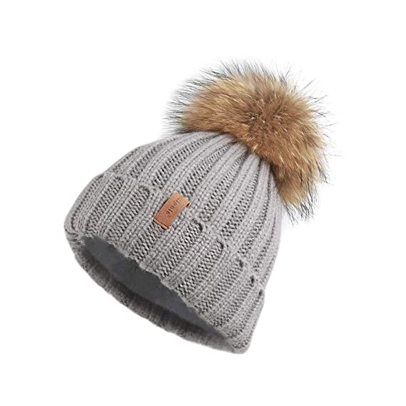 Pilipala Women Knit Winter Turn Up Beanie Hat With Fur Pompom Vc17604 by Pilipala