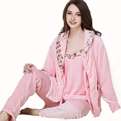 3856961d0a Image Unavailable. Image not available for. Color  HUIFANG Pajamas Autumn  and Winter Flannel Bathrobes Couple Pajamas Men and Women Thickened Home ...
