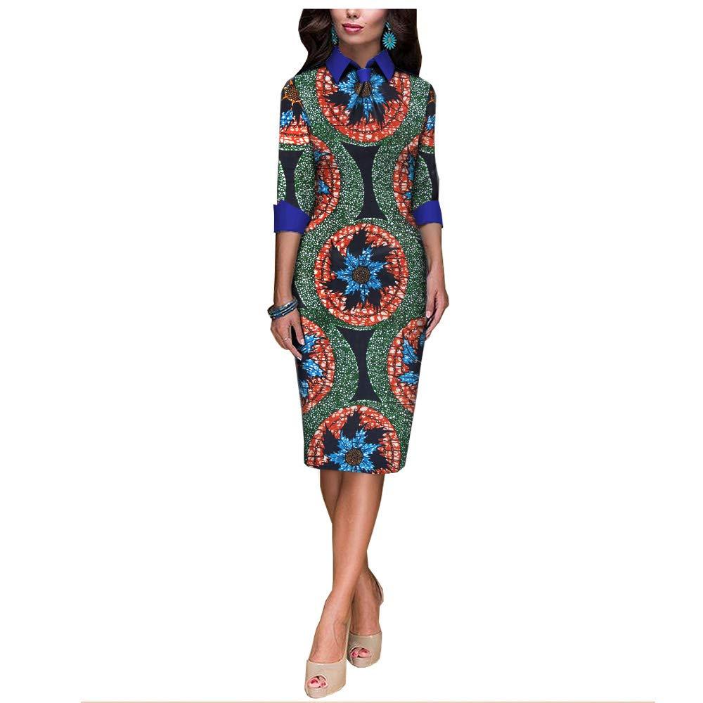 African Ankara Print Women Casual Pencil Dress Tailor Made Half Sleeve Knee  Length 100% Batik Cotton Made AA1825092A at Amazon Women s Clothing store  0d73171447
