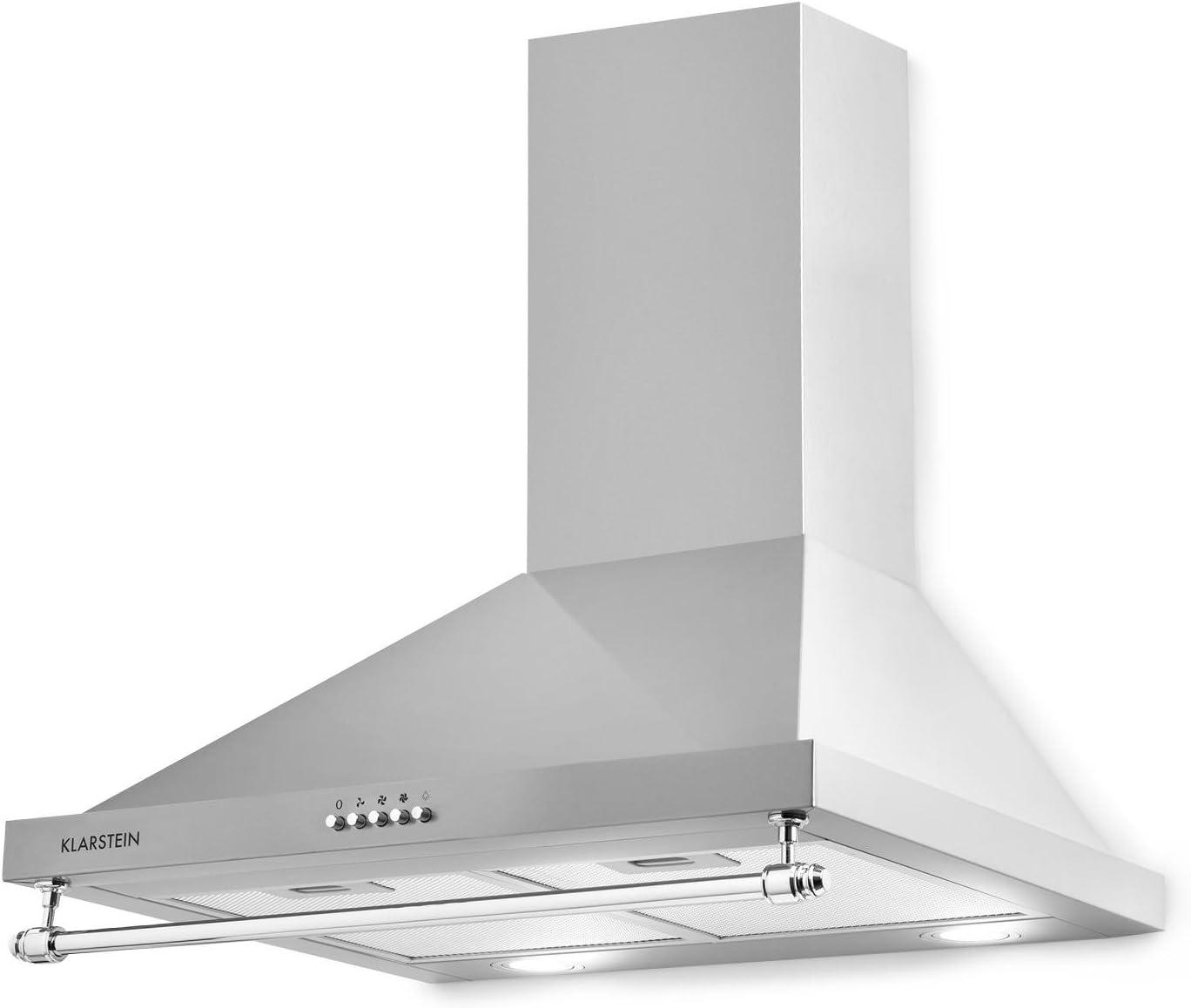 Klarstein Montblanc 60 - Campana extractora de humos, Extractor de pared, Absorción y ventilación, 3 niveles, 610 m³/h, Filtro de grasa de aluminio, 60 cm, 2 filtros de carbono, Plateado: Amazon.es: Grandes electrodomésticos