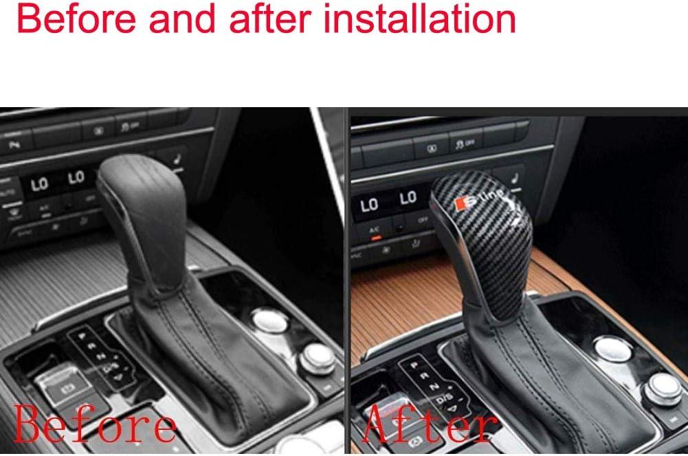 Carbon Fiber Gear Shift Knob Cover Sticker Head Trim for AudiSline A3 S3 2012-2018 D
