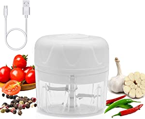 Elihome Electric Garlic Chopper, Wireless Portable Mini Food Processor with USB, Durable Hand Held Food Choppers and Dicers, IP68 waterproof White 100ML