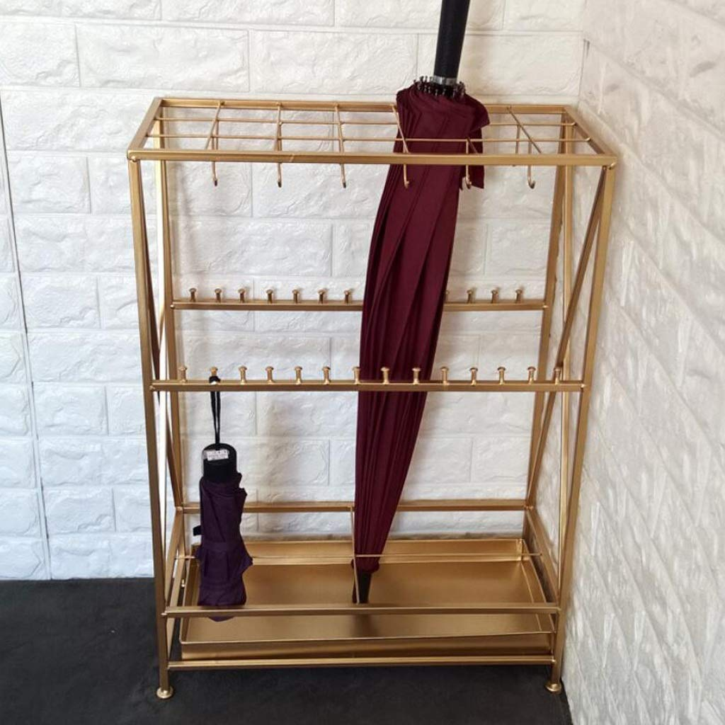 Yxsd Umbrella Stand Hotel Lobby Home Creative Long Handle Wrought Iron Umbrella Stand Storage Rack, High 27.8in (Color : Gold, Size : 21 Hole 32 Hook)