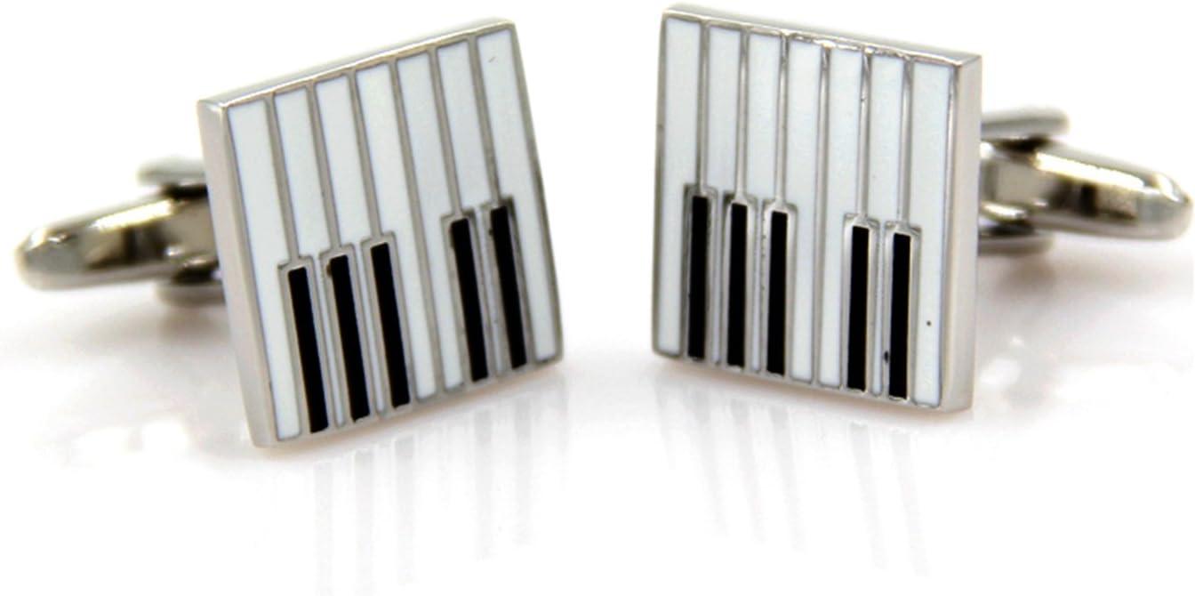 Music Note Cufflinks,Music Notes Music Symbol Unisex Shirt Cufflinks,Instrument shape cufflinks (one pair) (black and white-Piano key)