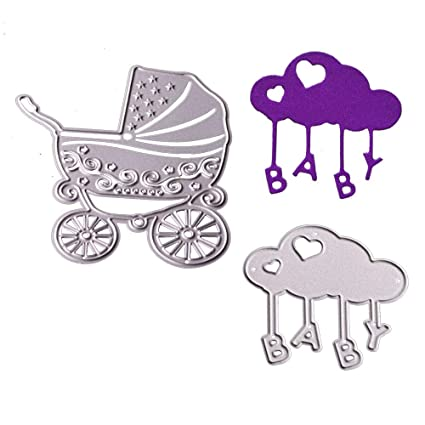 Cutting Dies Metal Stencils 2pcs Baby Carriage Scrapbooking Tool DIY Craft  Carbon Steel Embossing Template for Paper Card Making(Baby Carriage)