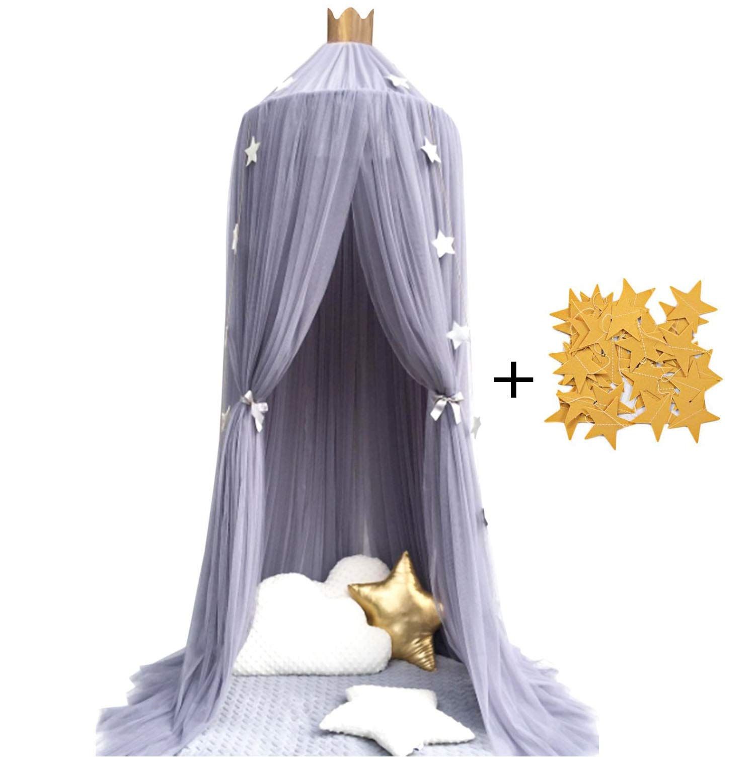 Trcoveric Princess Bed Canopies Premium Yarn Mosquito Net for Kids Baby Children's Room, Play Tent Bedding House Decor Reading Corner Gray