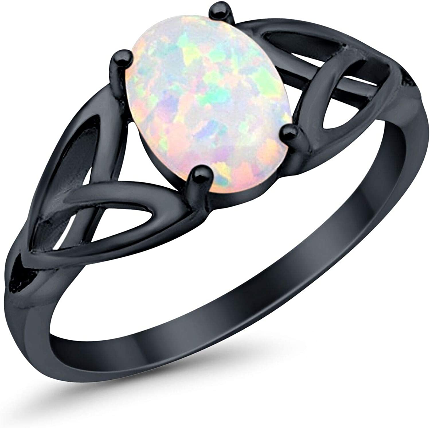 Oval Cut Round Created Blue Opal Ring Rose Tone 925 Sterling Silver Size-4