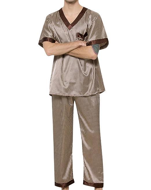 Hombre Cuello V Ocio Pijamas Satén Manga Corta Pantalones Pijamas Set: Amazon.es: Ropa y accesorios