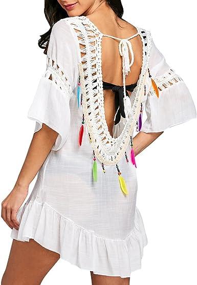 Yying Vestido Mujer Playa Bikini Cover Up Camisa Larga Suelta Tunica con Nappa Poncho de Playa Tejer Hueco Vestidos de Verano: Amazon.es: Ropa y accesorios