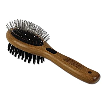 Bamboo Groom Combo Brush with Bristles & Stainless Steel Pins for Pets, Small/Medium