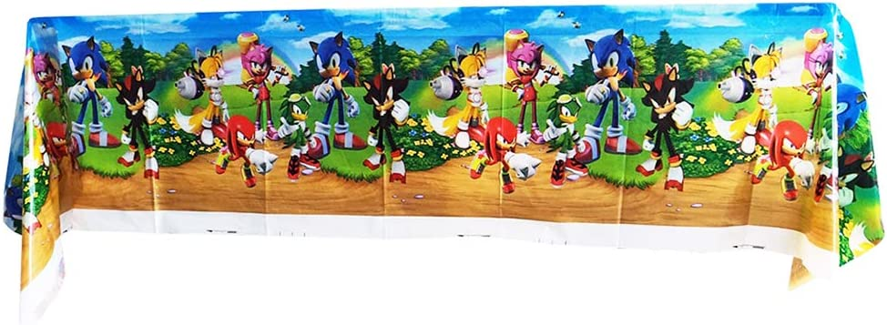 Disposable Tablecloth for Sonic Birthday Party Decoration WOOACME Plastic Table Cover for Sonic The Hedgehog Party Supplies