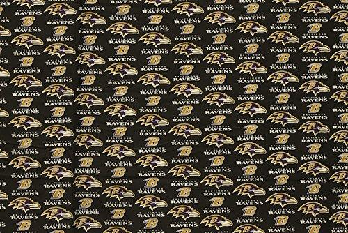 Baltimore Ravens Football Black Sheeting Fabric Cotton 5 Oz 58-60