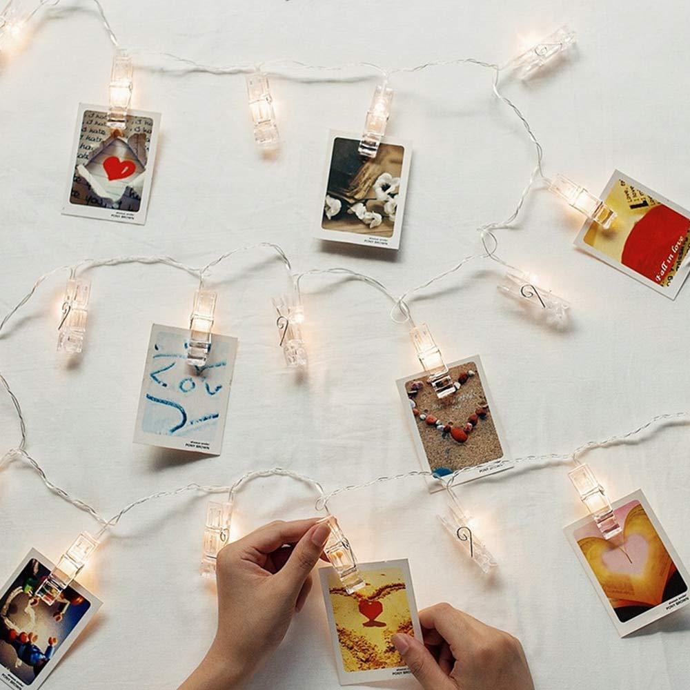 Fiesta Luces de cadena LED de 1.5M con clips de fotos 10PCS Luces de cuerda con clip de foto Marcos de imagen Decoraci/ón de pared Hogar Dormitorio 2 * AA con pilas Decoraciones de dormitorio