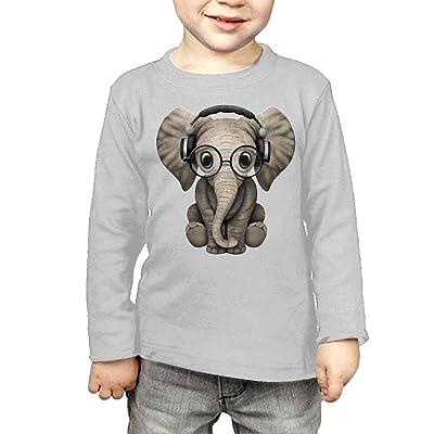 ZheuO Boys & Girls Toddler Cute Baby Elephant DJ Wearing Headphones Cozy 100% Cotton Tee Unisex Gray