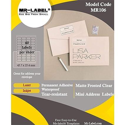 MR-Label Etiquetas de remitente transparentes, impermeables y ...