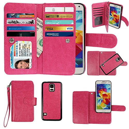 Case Fashion Wristlet (xhorizon Premium PU Leather Folio Case [Wallet Function] [Magnetic Detachable] Fashion Wristlet Purse Soft Flip 9 Card Slots Case Cover ZA5 for Samsung Galaxy S5 mini - Rose Red)