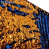 DUOBAO Sequin Backdrop 20FTx10FT Royal Blue to Orange Wedding Pics Backdrop Mermaid Reversible Sequin Photo Backdrop Baby Shower Curtains