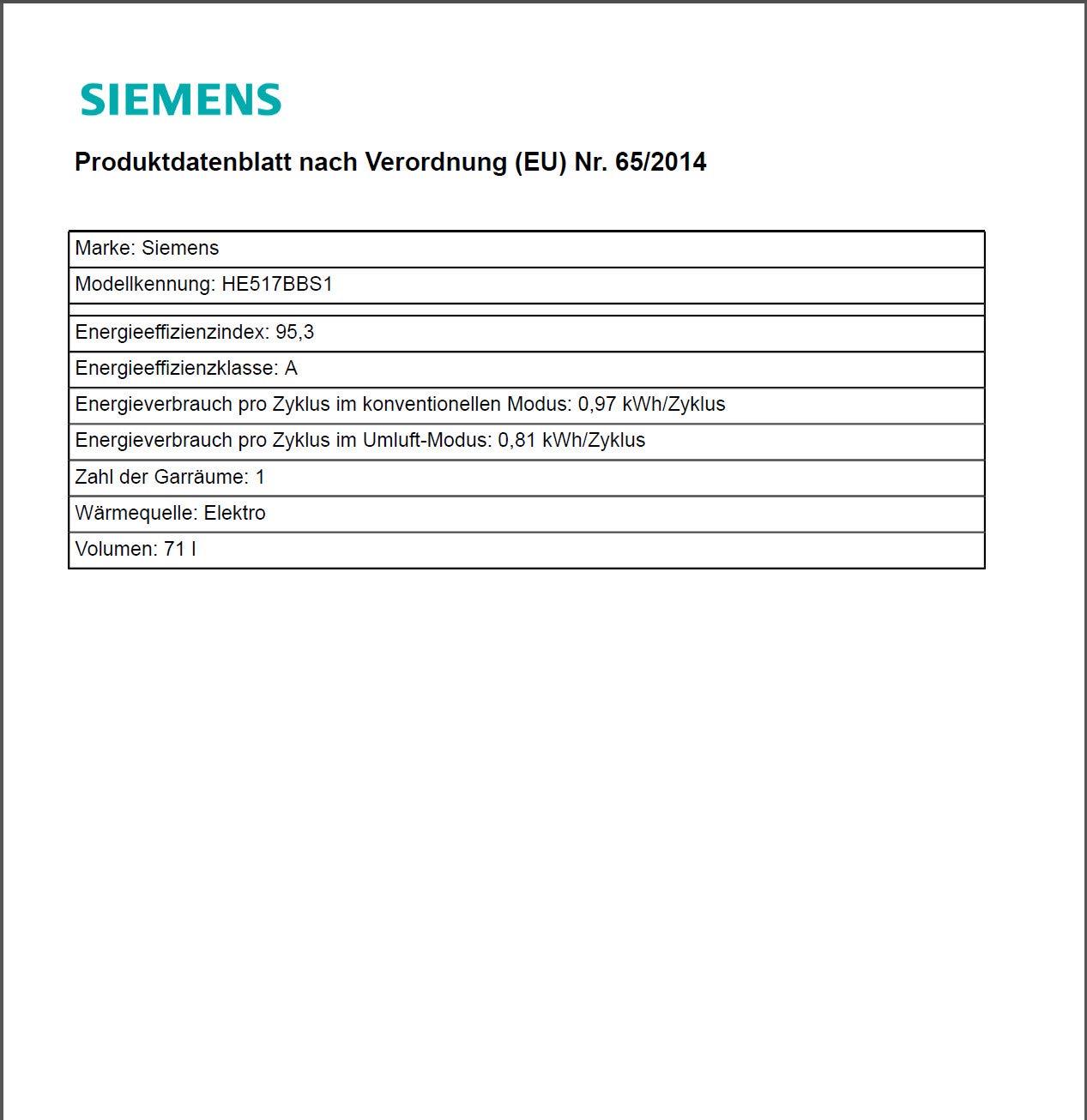 Siemens iQ500 Einbau-Elektro-Backofen mit Induktionskochfeld Kombination EQ521IB00 Edelstahl cookControl 10 Automatikprogramme Schnellaufheizung Br/äterzone Backwagen