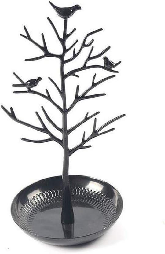 EyeMsea - Soporte para Joyas, Soporte para árbol de pájaros, Soporte de Hierro para Collar, Pendientes, Pulsera, Organizador, 5 Colores, Negro