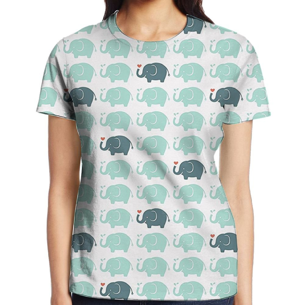 f6bdc3e23e5d Amazon.com  WuLion Elephant Cartoon Pattern Water Drops Doodle Women s 3D  Print T Shirt White  Clothing
