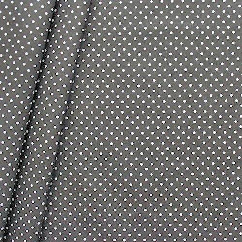 Baumwollstoff beschichtet Punkte Stoff Meterware Dunkel-Grau Stoffkontor