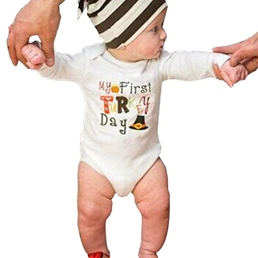 """94b9c9631aaf Matoen Thanksgiving Outfits Clothes Baby Girls Boys """"My First Turkey  Day"""" Print Romper"""