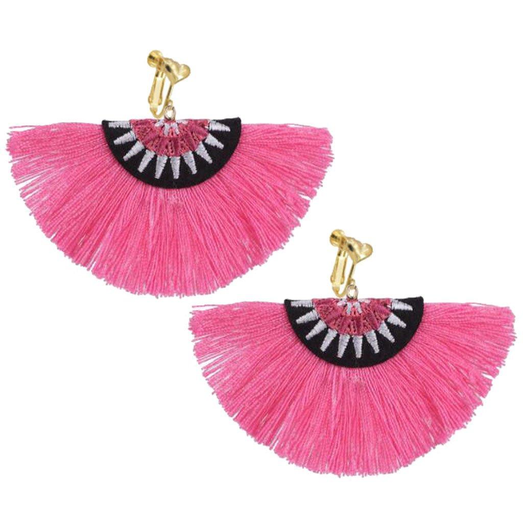 Bohemian Ethnic Clip on Earrings Heart Clips Pink Silk Fringe Thread Fan Fancy Wedding Prom Earring